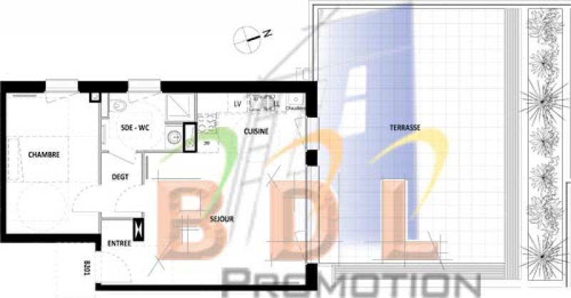 Exemple de T2 avec grande terrasse - Le Dumas