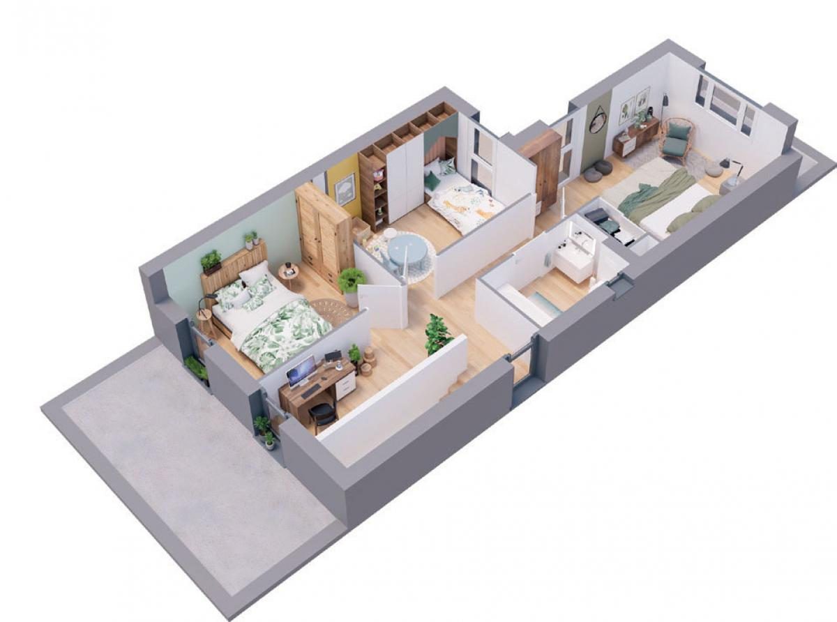 Maison neuve plan 3D Albizia - étage