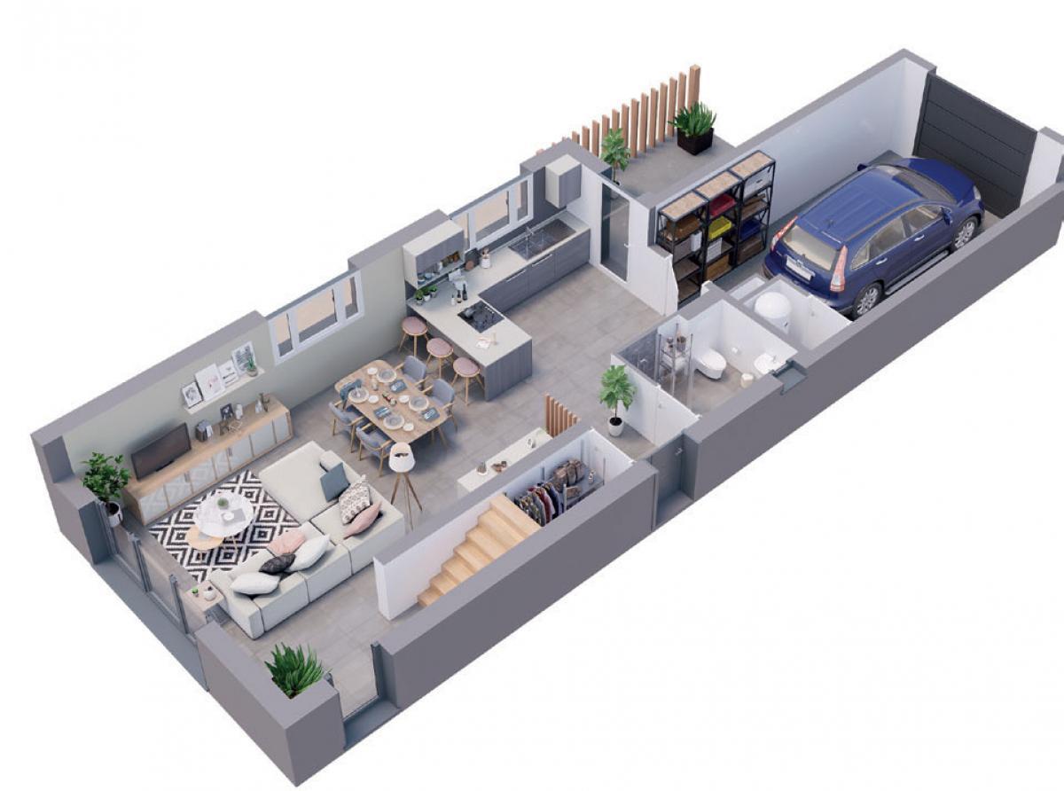 Maison neuve plan 3D Albizia - rez-de-chaussée